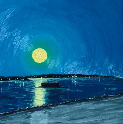 Full Moon Over Casco Bay - by Michael Fraser